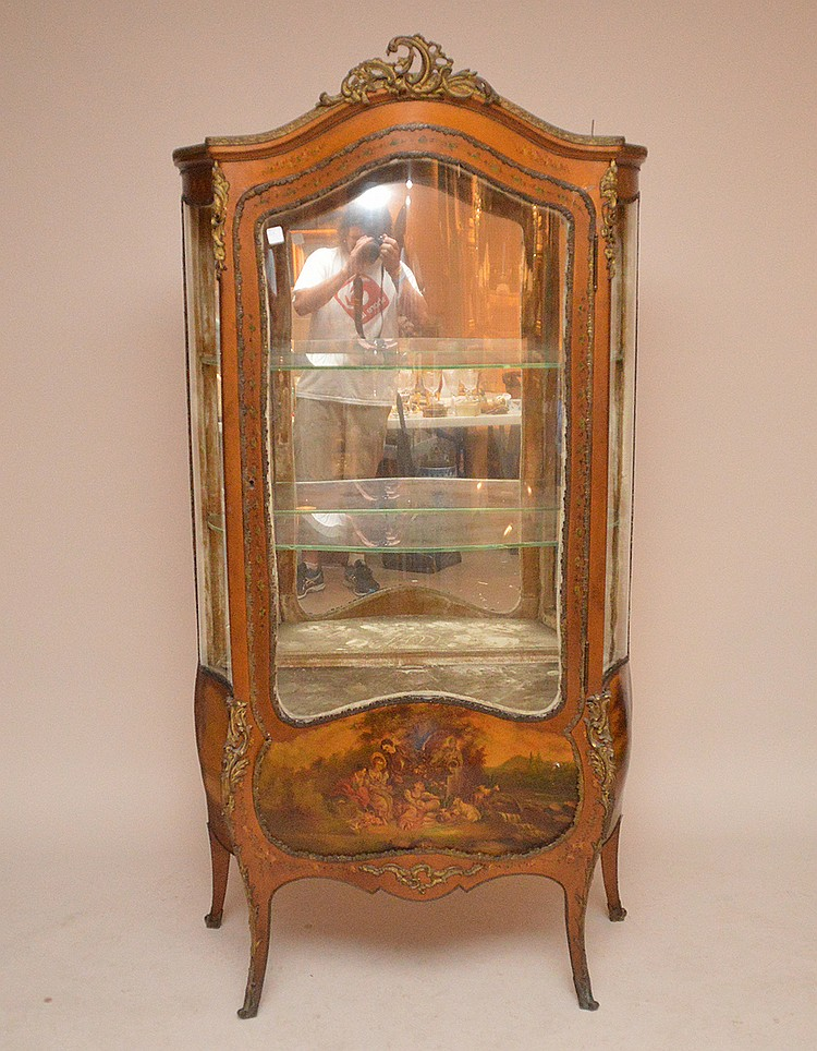 French painted curio cabinet, mirrored back, 3 bowed glass panels with shelves, 73