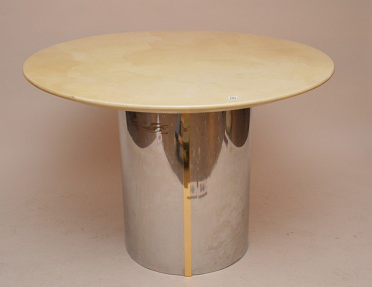 Karl Springer table with chrome pedestal base. Unsigned 40