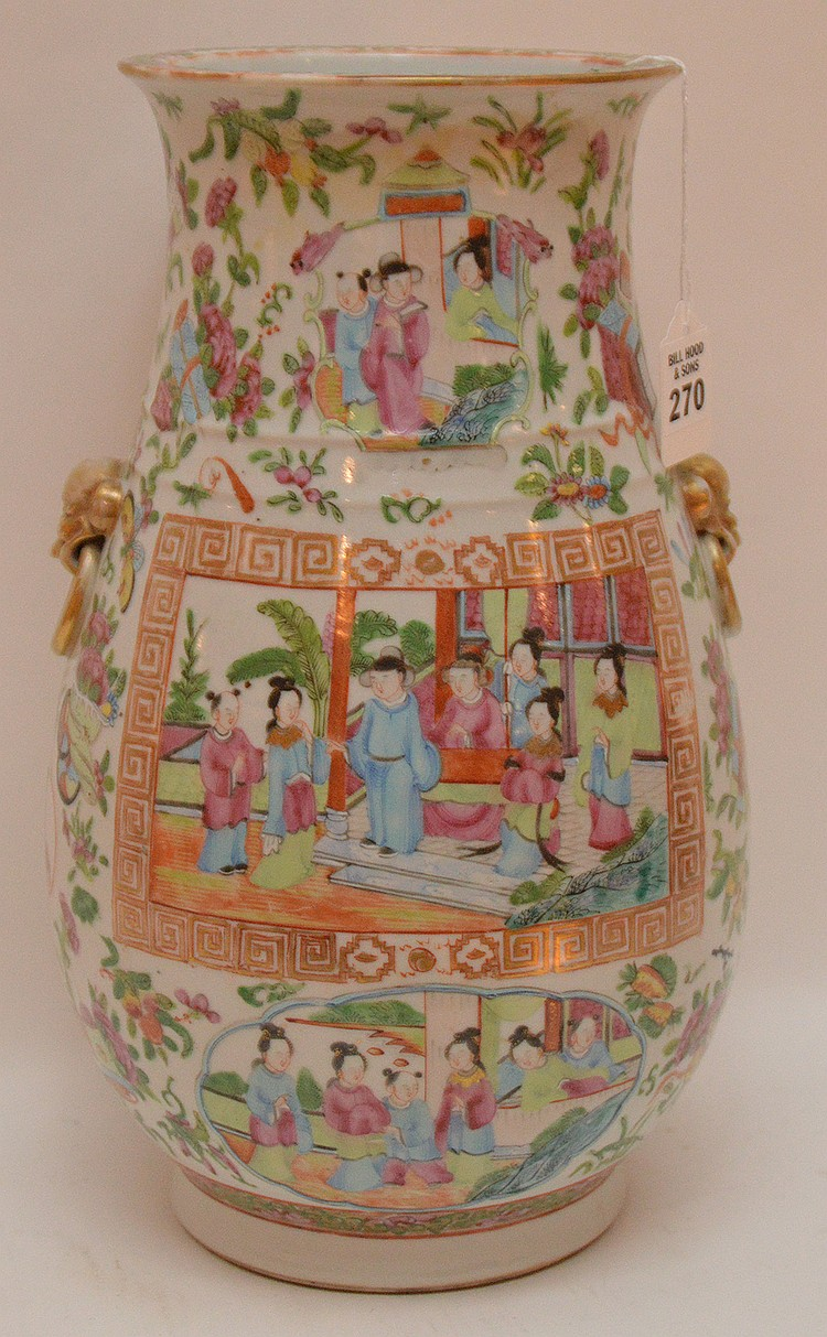 Chinese Rose Mandarin Porcelain Vase centered by an interior scene.  Ht. 13 1/4