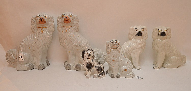 Lot 6 Staffordshire Porcelain Dogs.  Largest pair Ht. 12