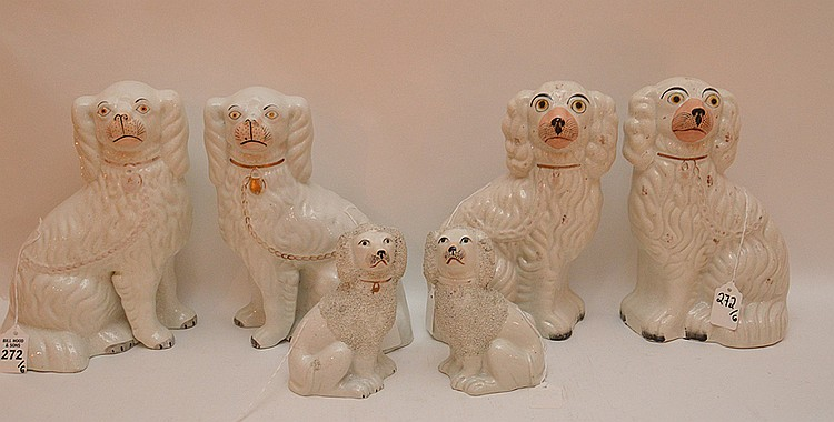 Lot 6 Staffordshire Dogs. Two Taller Pairs Ht. 12
