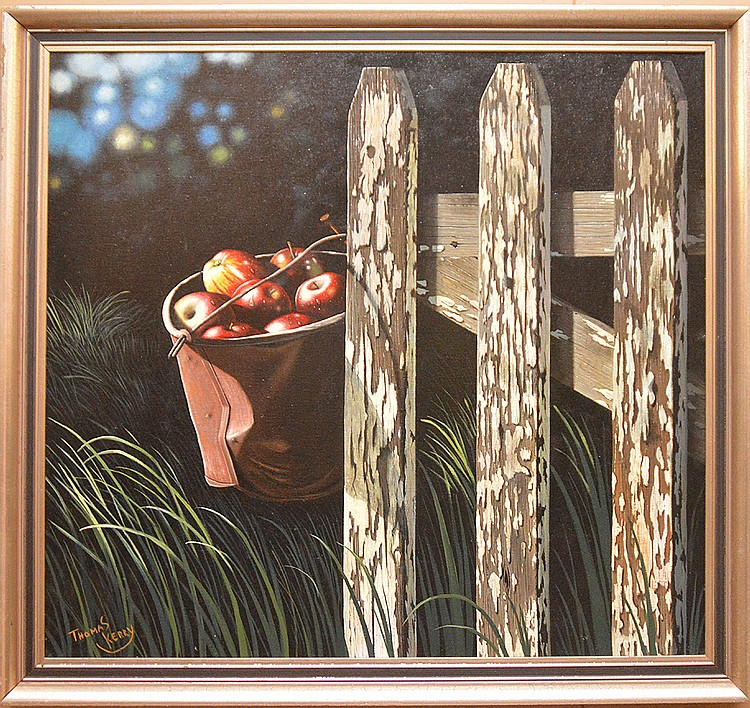 Thomas Kerry (AMERICAN/BRITISH, 20th Century) oil on canvas, Modern Still Life of a fence with a bucket of apples hanging off the side, canvas is 30in. x 32in.