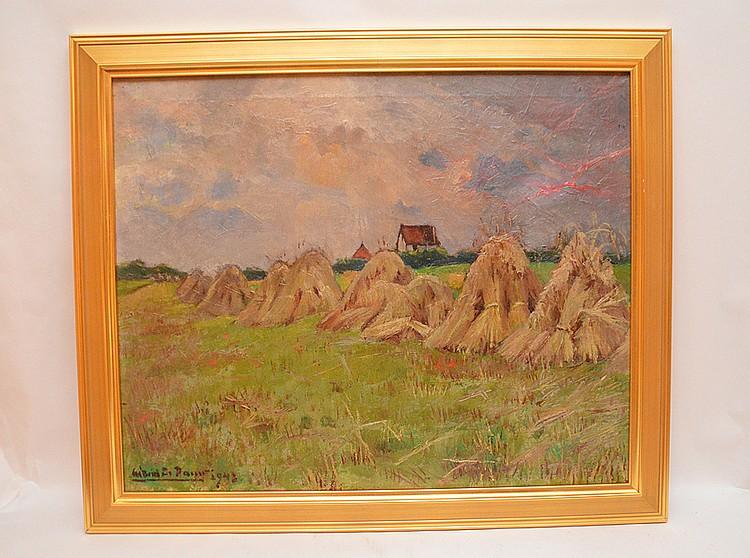 Gabriel de Pauw (BELGIAN, 1924-2000) oil on canvas, Haystacks, 26in. x 21in.