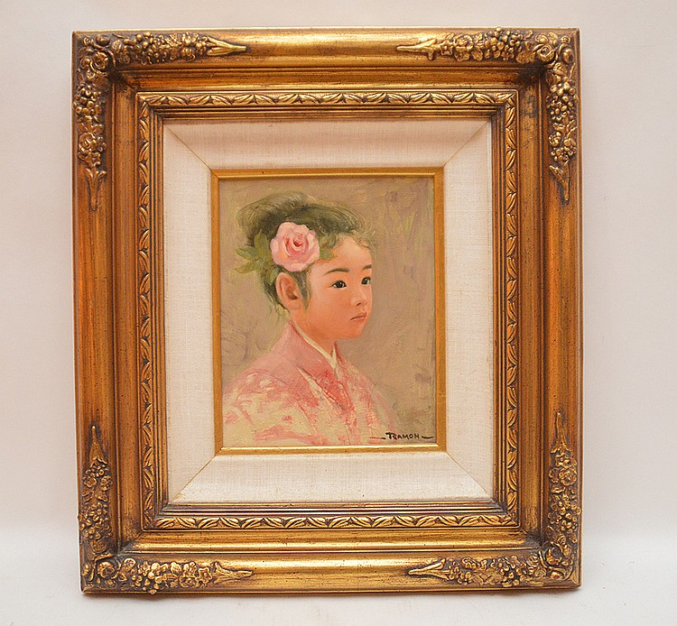 Portrait of Chinese Girl signed Ramon, oil on masonite, 10in. X 8in.