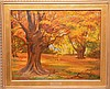 American Painting by Maria Reed (1912 - 1987) oil on board, Autumn Scene, 24in. X 30in.