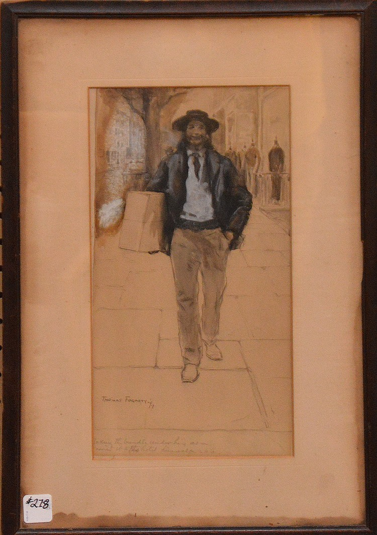 Thomas Fogarty (AMERICAN, 1873-1938) Gentleman on a walk, Ink/Gouache on Paper slr & dated 97  size 14in. x 7in.