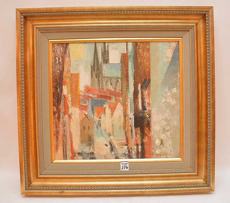 Jacques Petit  (French born 1925) oil on canvas, Chartres, 1965 size 15in.  x 16in.