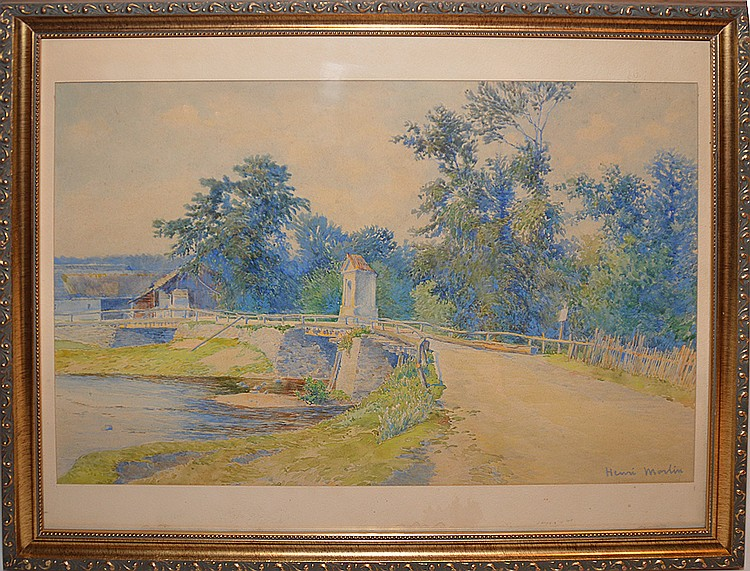 Henri-Jean Martin  (French 1860 - 1943) Watercolor, Landscape old wooden bridge, 12-1/2in. X 18-1/2in.