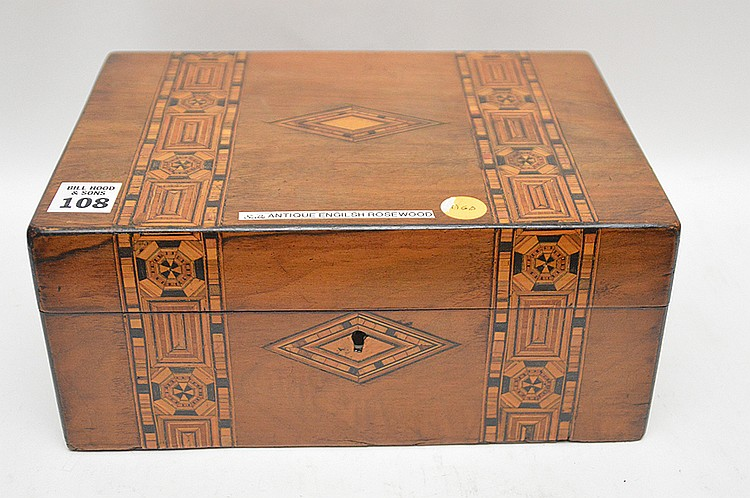Antique English Rosewood box with fine marquetry design and tray interior, 4 1/2