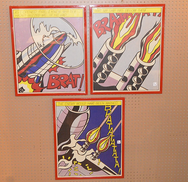 ROY LICHTENSTEIN As I Opened Fire (Triptych) , 1966 . Triptych lithography full set of three offset lithograph in colors- Roy Lichtenstein lithographers