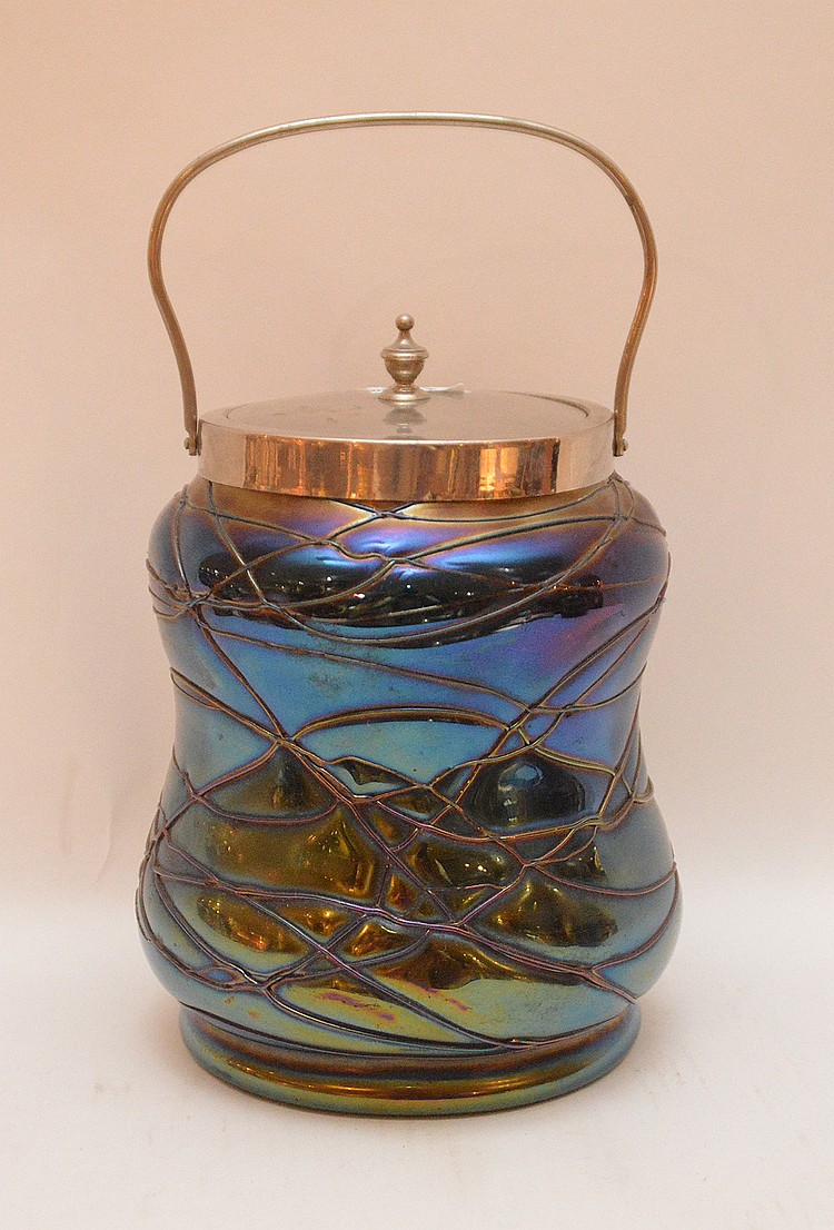 Art glass biscuit jar with bale handle, 7