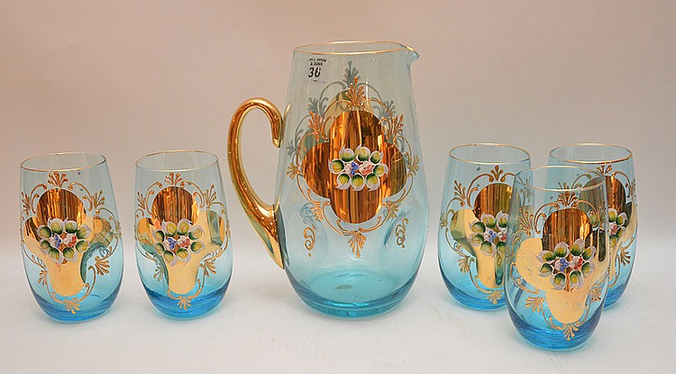 6 piece Italian pitcher & tumblers, blue with gold and raised floral design