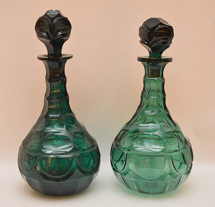 Pair green faceted and polished decanters, 11