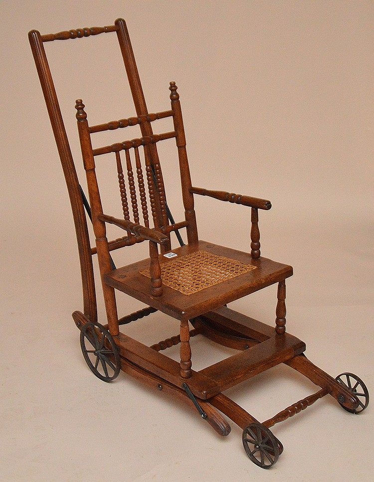 Oak high chair, 19th c, 39 1/2