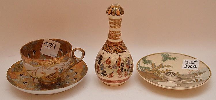 Mini Satsuma cup & saucer, Satsuma pug dog saucer and mini vase (4 1/2