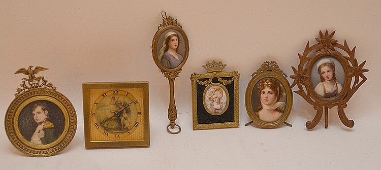 5 miniature portraits on porcelain each with brass or bronze assorted frames and (1) German clock painted face