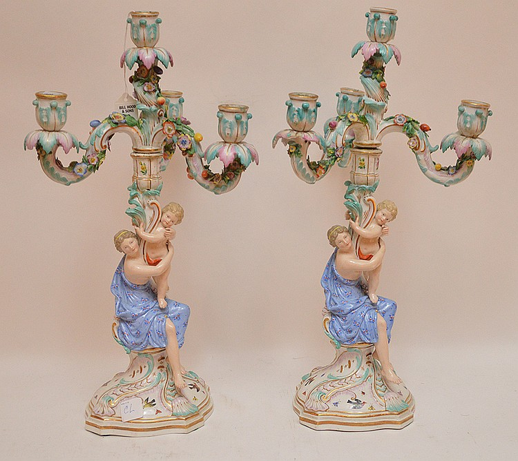 Pair Meissen Porcelain 4 Light Candelabra.  Condition: these candelabra have multiple damages and repairs please call for a condition report.  Ht. 19
