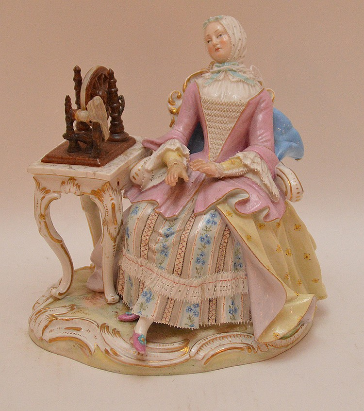 Meissen figure of girl sewing, 6