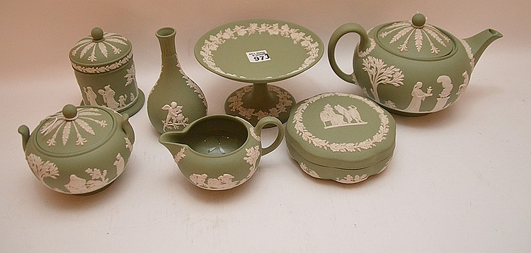 7 pieces Wedgwood Jasper green ware