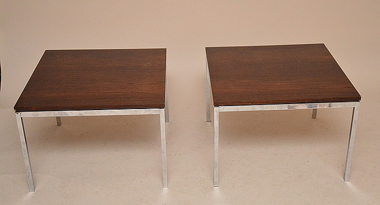 Pair of Knoll & Associates NY , chrome & rosewood side tables 24