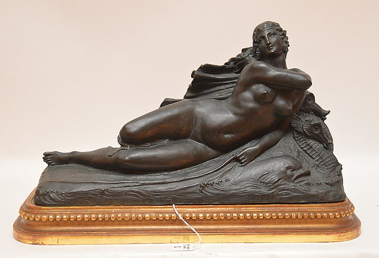 Joseph Jules Emmanuel Cormier (Joe Descomps) French 1869-1950 Patinated Bronze Sculpture on a carved giltwood base. Depicting a nude maiden with sea horse. Ht. 10 1/2