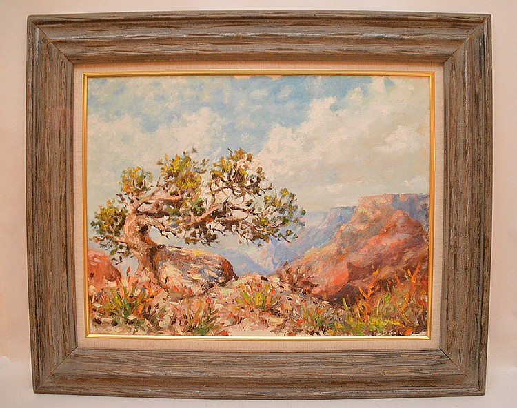 "JIMMY ABEITA, American Indian (Navajo, Arizona) born 1947, ""Mountain Western Landscape"", oil on canvas 18"" x 24"", signed lower right, framed"