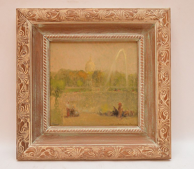 "ALBERT JEAN ADOLPHE, French 1865-1940, an impressionist view of the ""Tuilerie Gardens, Paris"", oil on board 8 ½"" x 8 ½"", Signed lower right and framed"