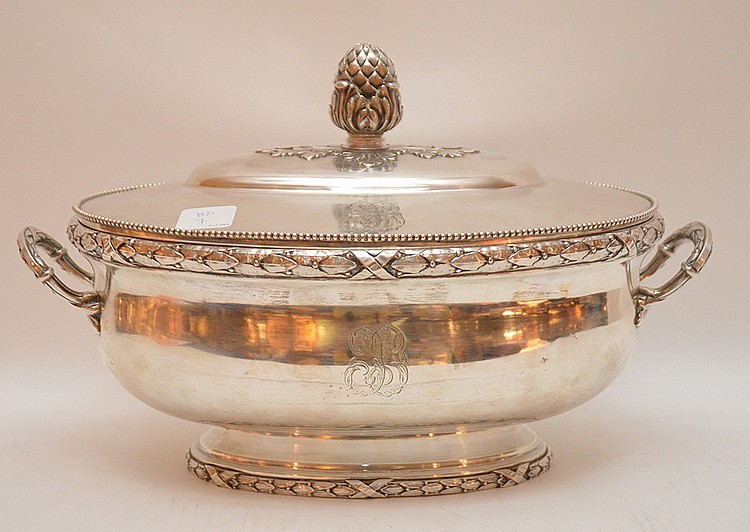 Antique French Silver Tureen.  Ht. 9