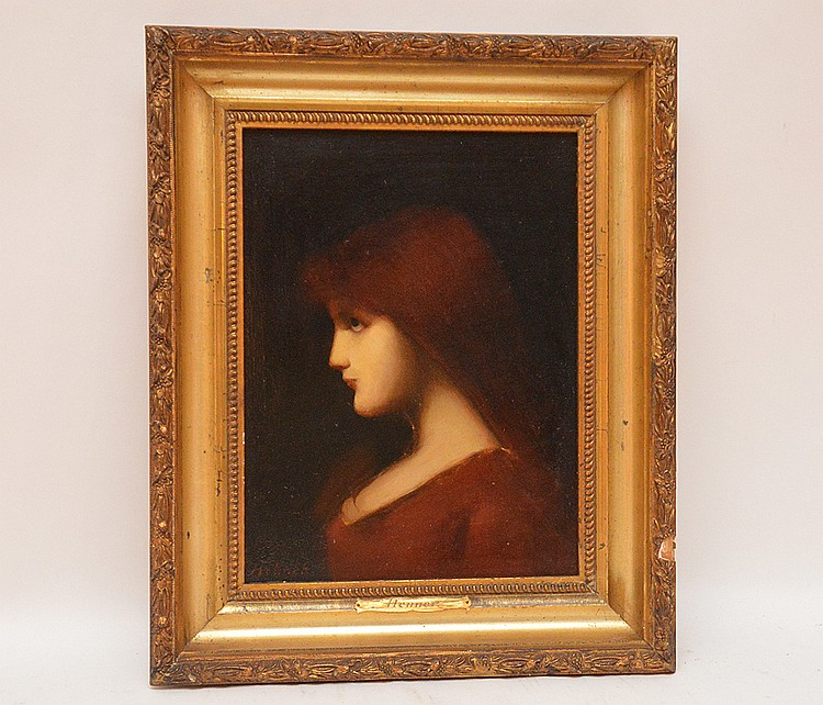 Jean Jacques Henner (FRENCH, 1829-1905) oil on panel, Portrait, 12in. X 9in.