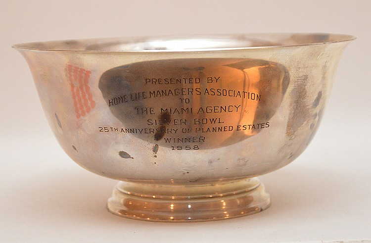 Reed & Barton Paul Revere Style Trophy Bowl with a presentation monogram on the front. Ht. 5