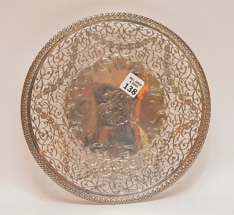 Sterling Cake Stand with reticulated rim with floral and scroll decoration. Dia. 10 1/2