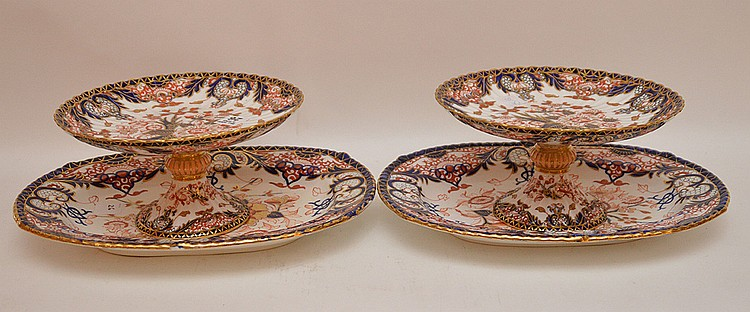 4 Pieces Royal Crown Derby porcelain, 2 compotes (4 3/4