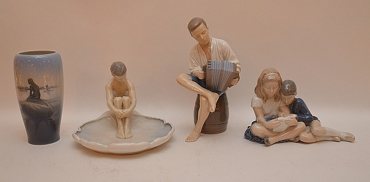 Lot 4 Assorted Royal Copenhagen Figures.  Tallest Ht. 9