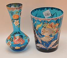Two Enameled Bohemian Glass Vases.  Signed Royo, Ht. Taller 6 1/2