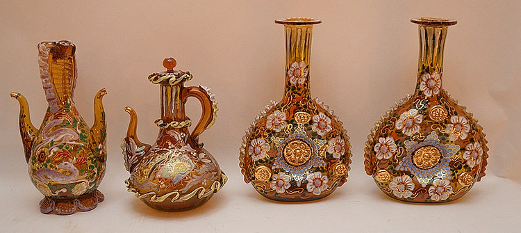 4 Pieces Bohemian Enameled Glass.  2 Bottles Ht. 9