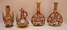 4 Pieces Bohemian Enameled Glass.  2 Bottles Ht. 9