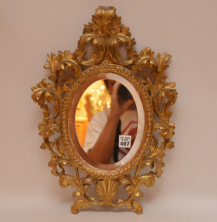 Italian Carved Rococo Style Gilt wood Mirror.  17