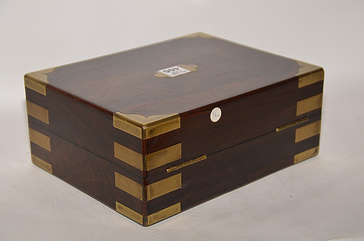 19th Century Mahogany Jewelry Box with brass fitted corners.  Ht. 4 1/4