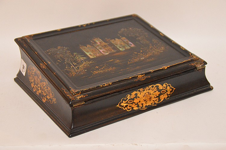 Antique Black Lacquer Lap Desk inlaid with mother of pearl and painted with gilt decoration.  12