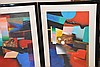 3 framed Modern Original Paintings signed illegibly. Painting size 39-1/2in. X 26in.