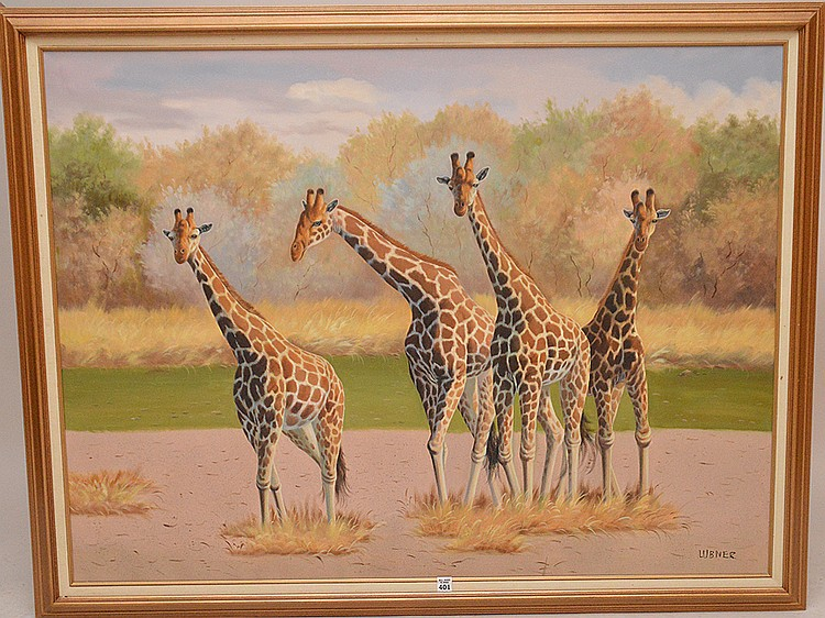 Decorative oil on canvas painting of Giraffes signed Lubner, 36in. X 48inches