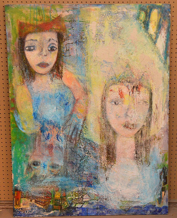 """RODRIGUES, Brazil/American 20th Century, """"Girls Having Tea"""" oil on canvas 48"""" x 36"""", signed and titled verso. Extensive exhibit record on back of painting"""