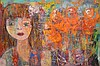 """HEGINA RODRIGUES, Brazil/American 20th Century, """"Girl With Flowers"""" oil on canvas 48"""" x 36"""", signed and titled verso. Extensive exhibit record on back of painting"""