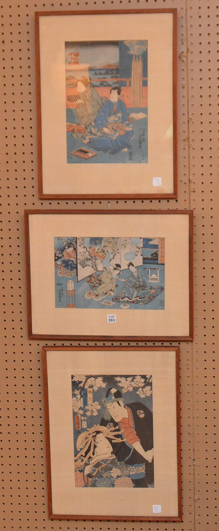 3 Japanese woodblock Prints sold together: approx. 13inches x 9inches each