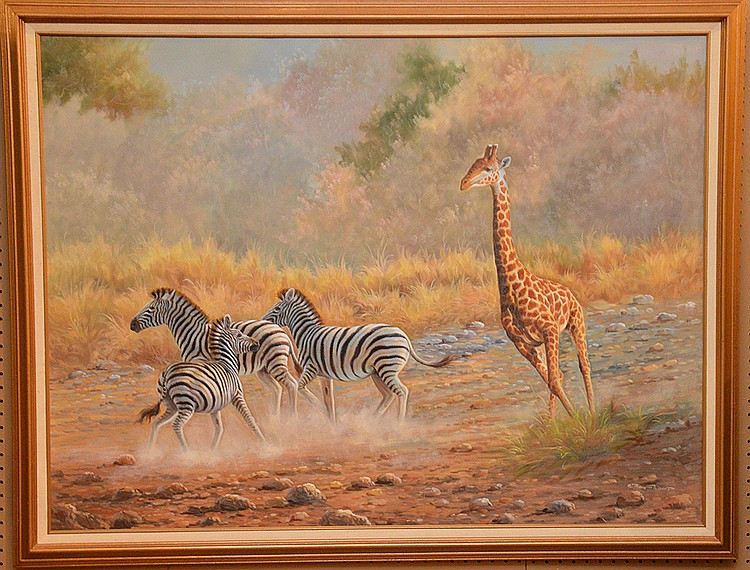 Decorative oil on canvas painting, Zebra & Giraff signed illegibly, 36in. X 48inches