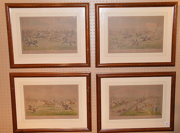 4 Framed Alken Horse Prints. Ayhesbury Steeple Chase, image size 17-1/2in. x 11-1/2in.