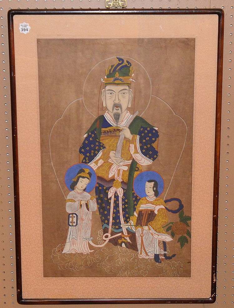 Oriental Emperor Watercolor framed, 29in. X 18in.