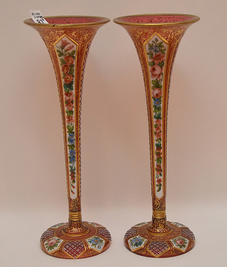 Pair Antique Bohemian ruby decorated vases, 12 1/2