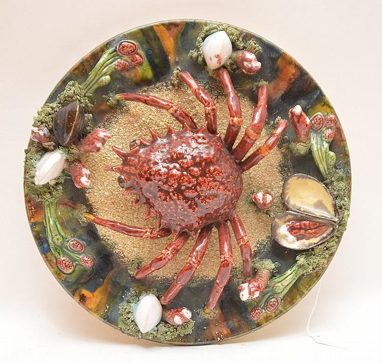 Majolica Palissy Alvaro Jose Calda De Rainha Stamped Crab Charger. Dia. 13