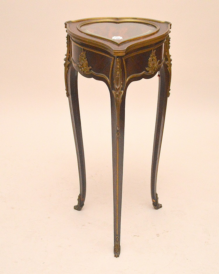 Rosewood heart form vitrine with gilt metal mounts, 29